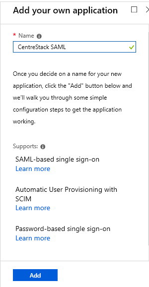Configuring a CentreStack Tenant with Azure AD as a SAML Identity