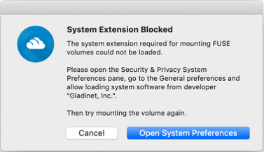 How to Fix FUSE errors on Mac OSX High Sierra and Mojave  – Gladinet